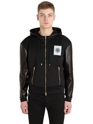 Fausto Puglisi Leather And Techno Sweatshirt Jacket