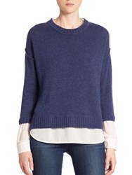 Brochu Walker Solid Knit Pullover Noble Blue Melange Wicker Melange Black