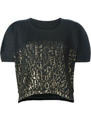 Pleats Please By Issey Miyake Cropped Pleated T Shirt Black