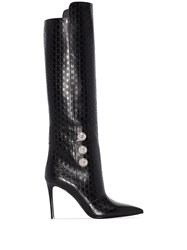 Balmain Opaline 95Mm Monogram Knee High Boots Black