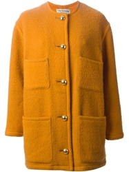 Guy Laroche Vintage Single Breasted Button Coat Yellow And Orange