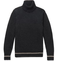 Massimo Alba Contrast Tipped Ribbed Wool Rollneck Sweater Gray