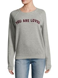 Amo Raglan Printed Sweatshirt Heather Grey