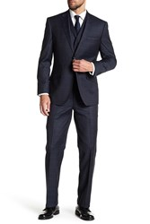 English Laundry Charcoal Windowpane Two Button Notch Lapel Vested Wool Suit
