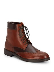 Massimo Matteo Two Tone Leather Wingtip Boots Brown Tan