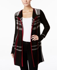 Charter Club Petite Plaid Open Front Cardigan Only At Macy's Deep Black Combo