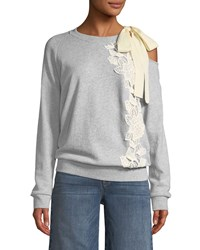 Ella Moss Tie Shoulder Long Sleeve Pullover Sweatshirt Gray