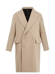 Acne Studios Rover Peak Lapel Double Breasted Wool Overcoat Beige