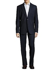 Versace Textured Two Button Virgin Wool Suit Navy