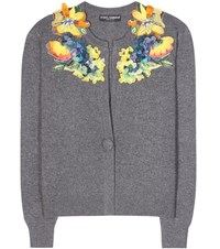 Dolce And Gabbana Cashmere Cardigan With Applique Grey