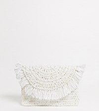 South Beach Exclusive Fold Over Clutch In White Straw