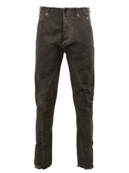 Masnada Stitch Detail Tapered Trousers Grey