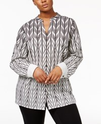 Calvin Klein Plus Size Striped Utility Shirt Black White Floral