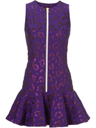 House Of Holland Leopard Pattern Peplum Dress Pink And Purple