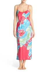 Women's Natori 'Lian' Floral Charmeuse Nightgown Coral Pink