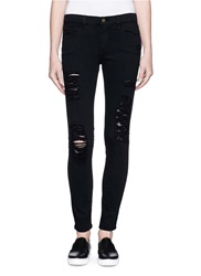 Frame Denim 'Le Skinny De Jeanne' Rip Slim Fit Jeans Black