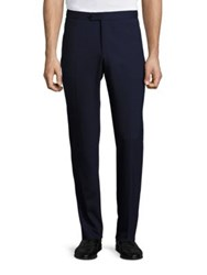 Isaia Regular Fit Wool Blend Trousers Navy