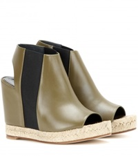 Balenciaga Rope Leather Peep Toe Wedge Sandals Green