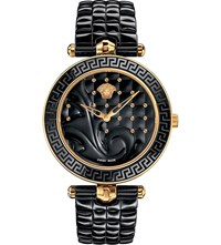 Versace Vao040016 Vanitas Gold Plated Ceramic And Leather Watch Sapphire