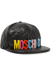Moschino Quilted Leather Cap Black