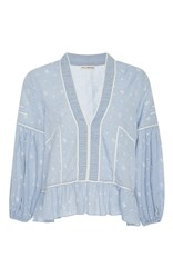 Ulla Johnson Eienne Ruffled Peplum Blouse Light Blue