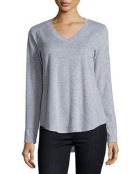 Neiman Marcus V Neck Baseball Top Light Gray
