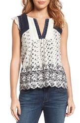 Lucky Brand Women's Back Keyhole Embroidered Top