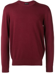 Emporio Armani Knitted Ribbed Detailed Jumper Red
