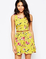 Mela Loves London Belted Dress In Flower And Bird Print Yellow