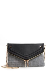 Leith Mixed Media Foldover Clutch Black Black Multi