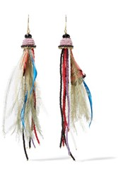 Etro Bead And Feather Earrings Red