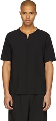 Attachment Black Linen T Shirt
