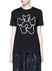 Etre Cecile 'Dog Ring' Embroidered Cotton Jersey T Shirt Black