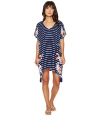 Seafolly Castaway Stripe Antique Floral Kaftan Cover Up French Blue Women's Swimwear