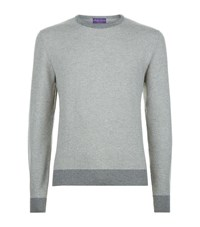 Ralph Lauren Suede Elbow Patch Cashmere Sweater Male Light Grey