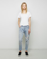 Re Done Relaxed Crop Shred Jean Blue