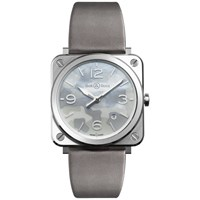 Bell And Ross Brs Camo St Unisex Date Satin Strap Watch Grey Camouflage Mother Of Pearl