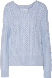 Derek Lam 10 Crosby By Cable Knit Wool Sweater Sky Blue