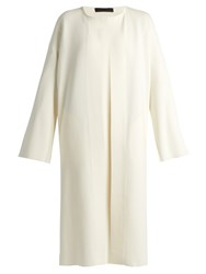 The Row Gant Collarless Open Front Jersey Coat Ivory