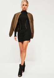 Missguided Black Corset Lace Up Knitted Mini Jumper Dress