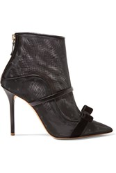 Malone Souliers By Roy Luwolt Claudia 100 Velvet And Leather Trimmed Point D'esprit Mesh Ankle Boots Black