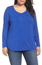 Sejour Plus Size Women's Sweetheart Neck Long Sleeve Tee Blue Mazarine