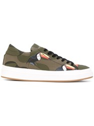 Philippe Model Bird Camouflage Sneakers Men Cotton Leather Rubber 40 Green