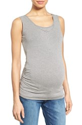 Women's Nom Maternity Henley Maternity Tank Top Charcoal Microstripe