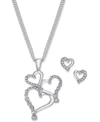 Charter Club Silver Tone Pave Heart Pendant Necklace And Stud Earrings Set Created For Macy's Rhodium
