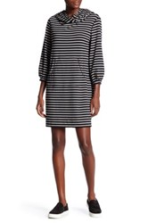 Max Studio Long Sleeve Striped Pouch Pocket Dress Black