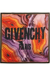 Givenchy Printed Silk Twill Scarf Orange