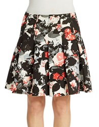 424 Fifth Pleated Floral A Line Skirt Sleet