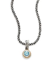 Effy Blue Topaz Sterling Silver And 18K Yellow Gold Pendant Necklace