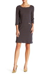 Chetta B Long Sleeve Stripe Midi Dress Blue